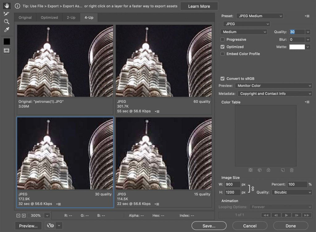 4 views of the same image showing the top of a lit up skyscraper at night in a square comparing the different quality options with export buttons and controls to the right of the images