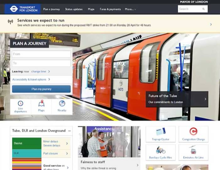 Transport for London website home screen as laid out for desktop
