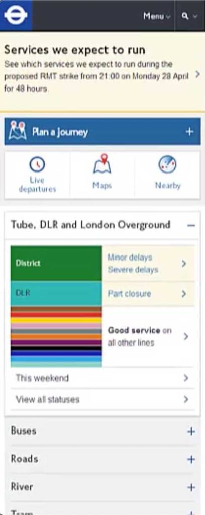 Transport for London website home screen as laid out for phones.