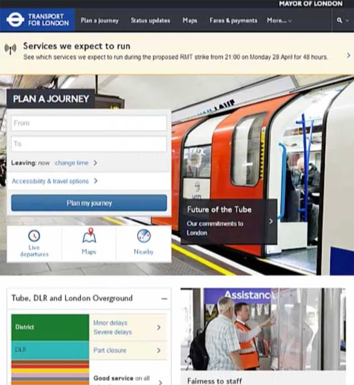 Transport for London website home screen as laid out for tablets