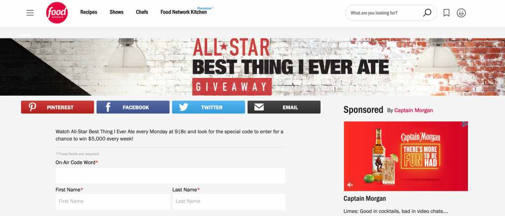 "Screenshot of Food Network's website page for entering a giveaway. Top header photo features a white and red brick wall and says ""All-Star Best Thing I Ever Ate Giveaway"" and there are empty fields to complete an entry below it."
