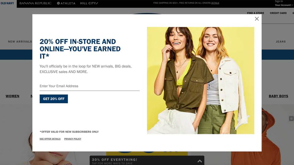 Pop Up box on Old Navy webpage with picture of 2 women smiling and offering a 20% off coupon for signing up for email notifications.