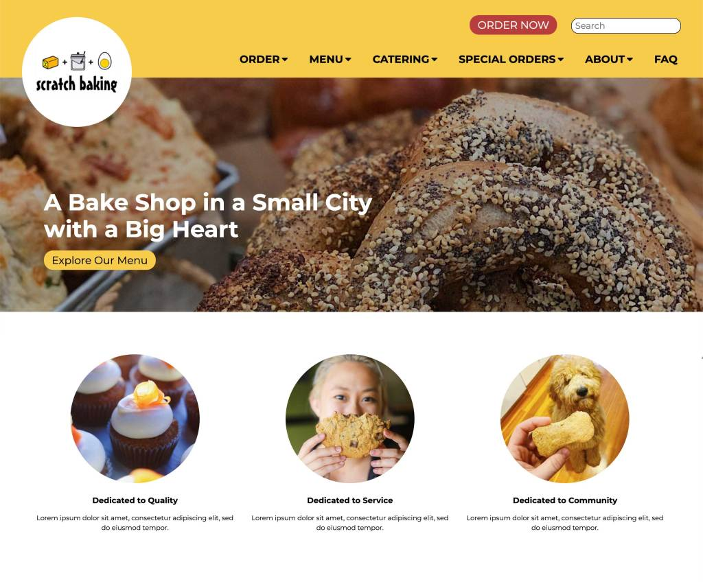 My finished edit of the template to create a homepage for Scratch Baking