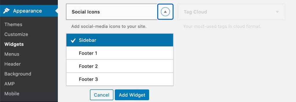 Screenshot of the admin menu in WordPress Blog with Appearance and Widget menu items highlighted. Social Icons widget is selected.