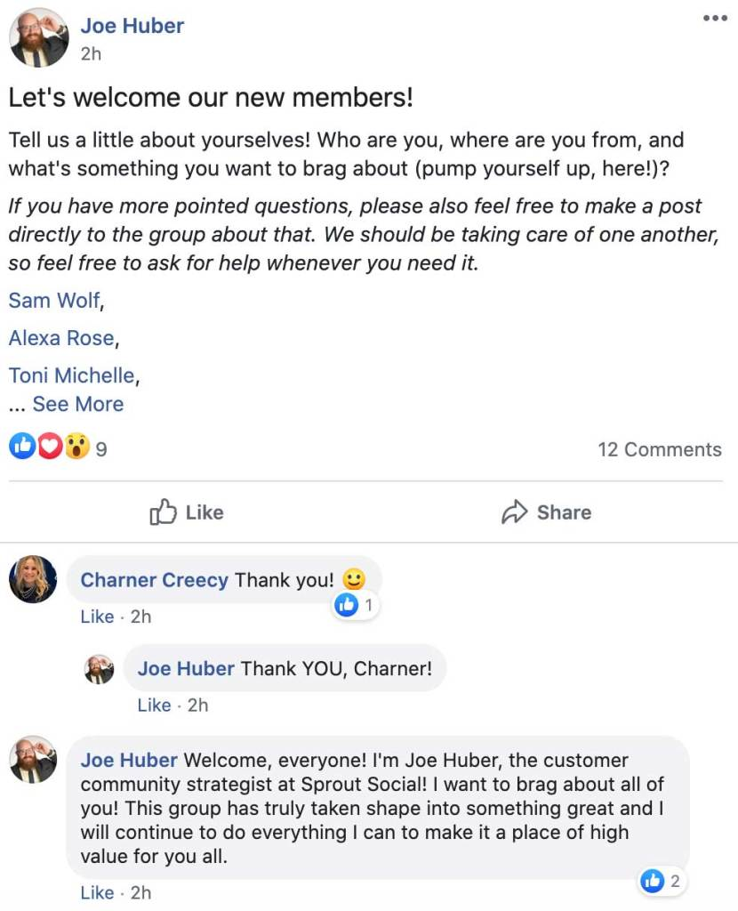 Screenshot of Facebook post by a man named Joe Huber welcoming new members to Sprout Social's Facebook group.