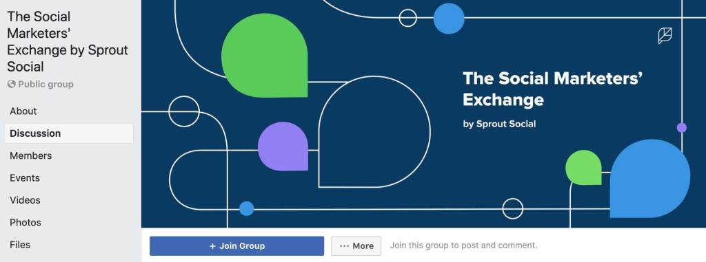 Screenshot of a Facebook group page titled The Social Marketers' Exchange by Sprout Social with a navy blue cover image with the group's name and white swirling lines and blue, green, and purple dots.