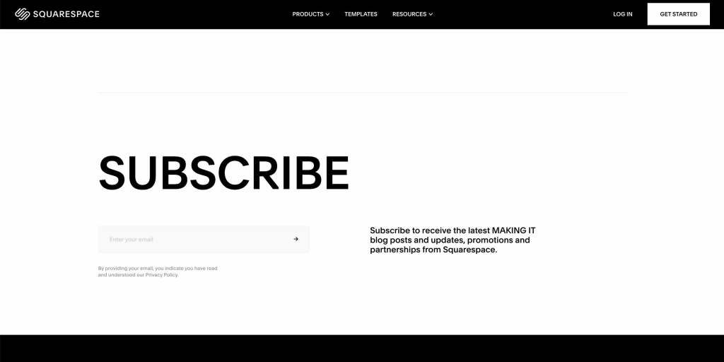 Screenshot of Sqaurespace's black and white website with the word Subscribe and a field for entering email.