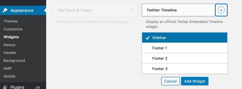 Screenshot of the admin menu in WordPress Blog with Appearance and Widget menu items highlighted. Twitter Timeline widget is selected.