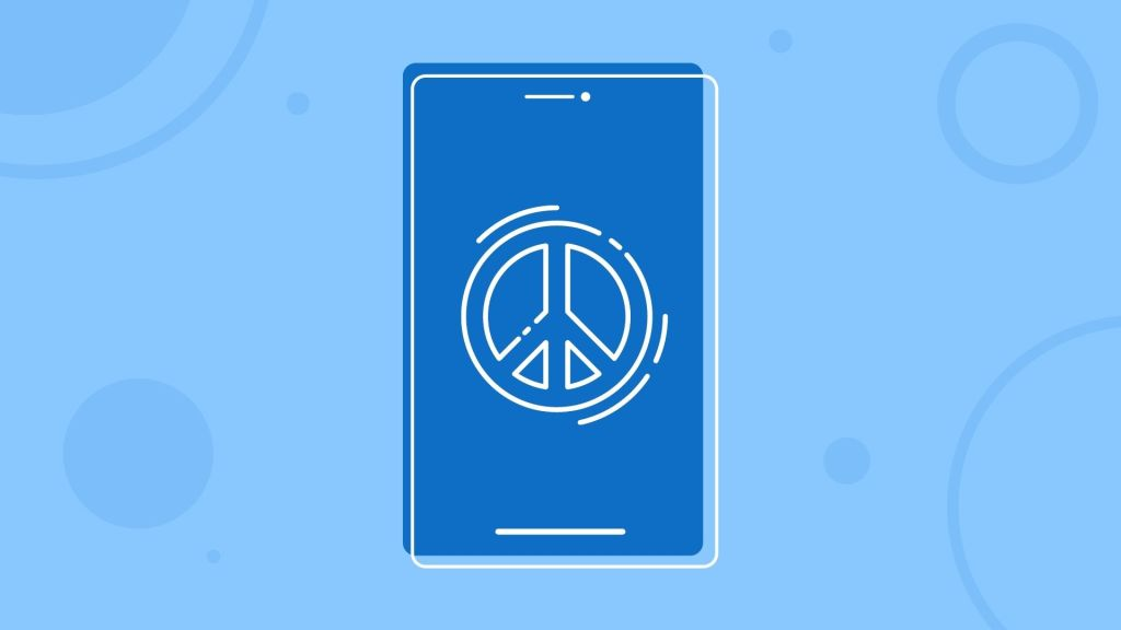 Graphic shape of a phone with a peace sign on the screen