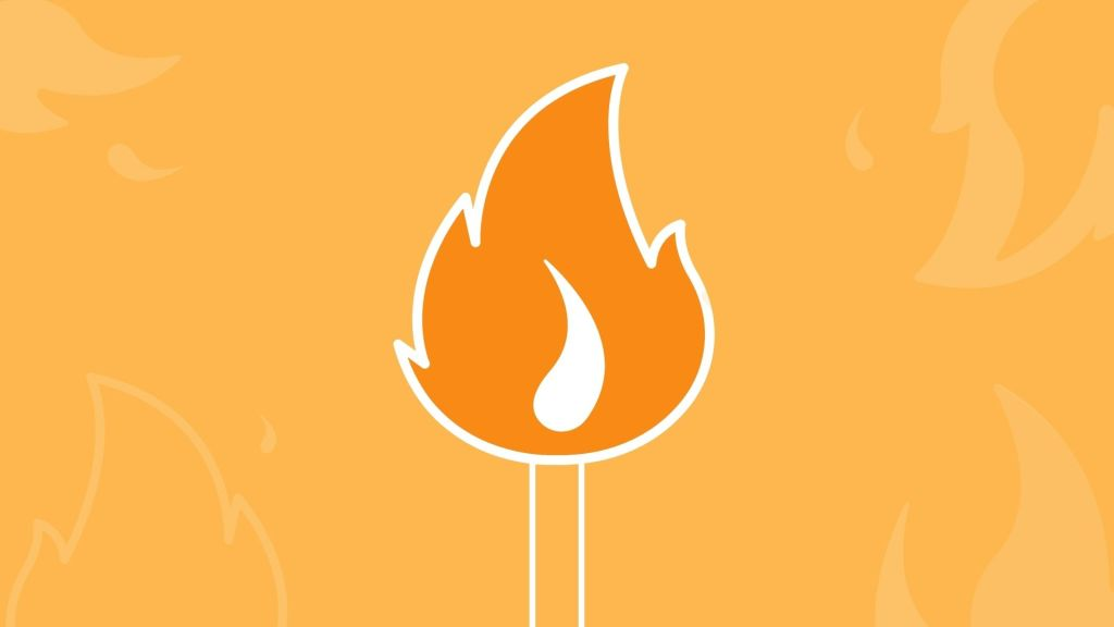 Graphic of match with flame on it
